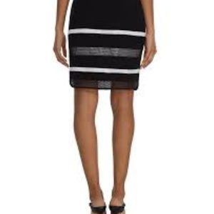 MESH STRIPE BLACK PENCIL SKIRT